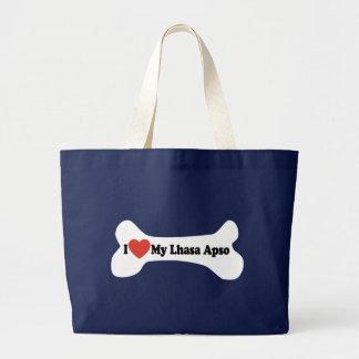 I Liebe mein Lhasa Apso - Hundeknochen Jumbo Stoffbeutel