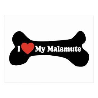 I Liebe mein Malamute - Hundeknochen Postkarte