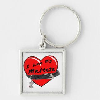 I Liebe mein maltesisches rotes Herz mit Schlüsselanhänger