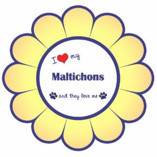 I Liebe mein Maltichons (mehrfache Hunde) Fotoskulptur Ornament