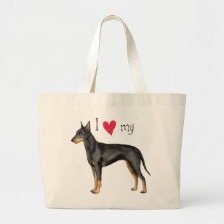 I Liebe mein Manchester-Terrier Jumbo Stoffbeutel