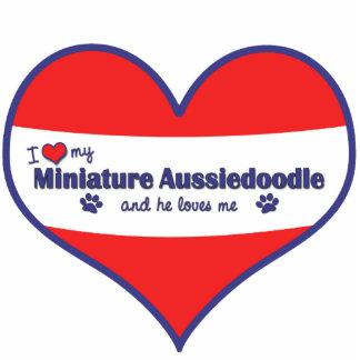 I Liebe mein MiniaturAussiedoodle (männlicher Hund Fotoskulptur Ornament