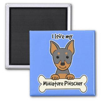 I Liebe mein MiniaturPinscher Quadratischer Magnet