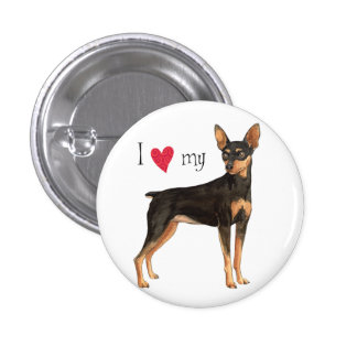 I Liebe mein MiniaturPinscher Runder Button 3,2 Cm