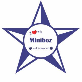 I Liebe mein Miniboz (männlicher Hund) Fotoskulptur Ornament