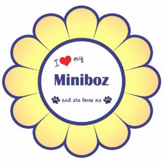 I Liebe mein Miniboz (weiblicher Hund) Fotoskulptur Ornament