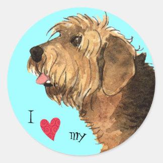 I Liebe mein Otterhound Runder Aufkleber