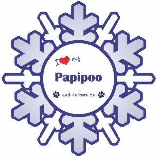 I Liebe mein Papipoo (männlicher Hund) Fotoskulptur Ornament