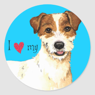 I Liebe mein Pastor-Russell-Terrier Runder Aufkleber