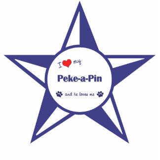 I Liebe mein Peke-ein-Button (männlicher Hund) Fotoskulptur Ornament