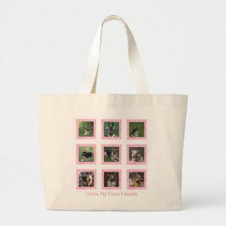 I Liebe mein Pelzfreund: Rosa Bild-Collagen-Tasche Jumbo Stoffbeutel