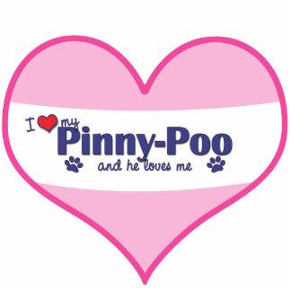 I Liebe mein Pinny-Poo (männlicher Hund) Fotostatue