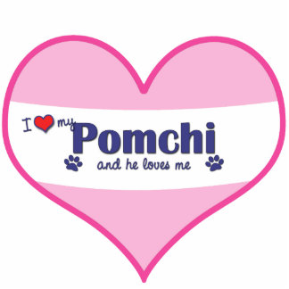 I Liebe mein Pomchi (männlicher Hund) Photo Skulptur