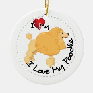 I Liebe mein Pudel-Hund Rundes Keramik Ornament