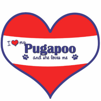I Liebe mein Pugapoo (weiblicher Hund) Fotofigur