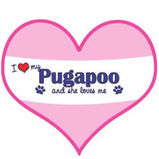 I Liebe mein Pugapoo (weiblicher Hund) Fotostatue