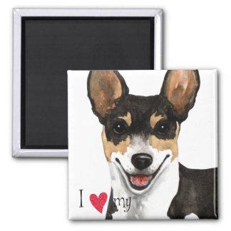 I Liebe mein Ratten-Terrier Quadratischer Magnet