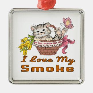 I Liebe mein Rauch Silbernes Ornament