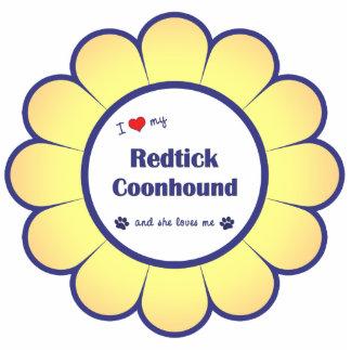 I Liebe mein Redtick Coonhound (weiblicher Hund) Fotoskulptur Ornament
