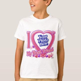 I Liebe mein Rosa des besten Freunds/lila - Foto T-Shirt