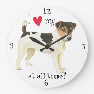 I Liebe mein Russell-Terrier Große Wanduhr