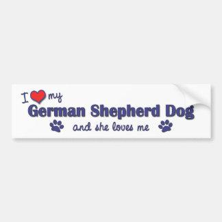 I Liebe mein Schäferhund (weiblicher Hund) Autoaufkleber
