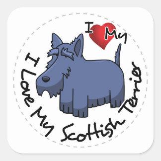 I Liebe mein schottischer Terrier-Hund Quadratischer Aufkleber