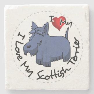 I Liebe mein schottischer Terrier-Hund Steinuntersetzer