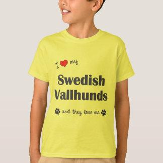 I Liebe mein schwedisches Vallhunds (mehrfache T-Shirt