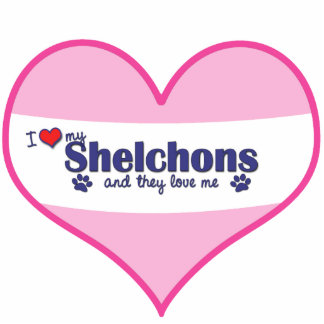 I Liebe mein Shelchons (mehrfache Hunde) Fotoskulptur Ornament