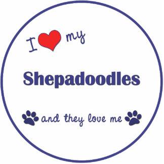 I Liebe mein Shepadoodles (mehrfache Hunde) Fotoskulptur Ornament