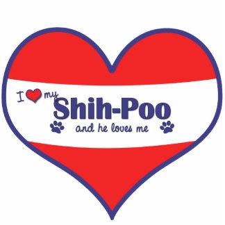 I Liebe mein Shih-Poo (männlicher Hund) Fotostatue