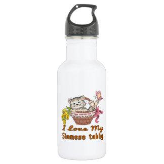 I Liebe mein siamesischer Tabby Edelstahlflasche