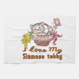 I Liebe mein siamesischer Tabby Geschirrtuch