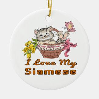 I Liebe mein siamesisches Keramik Ornament