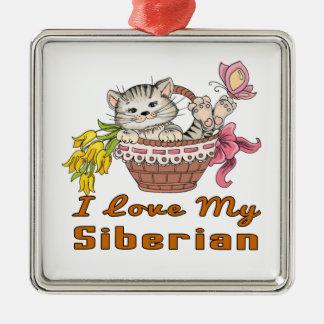 I Liebe mein Sibirier Silbernes Ornament