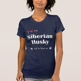 I Liebe mein sibirischer Schlittenhund (männlicher T-Shirt