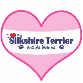 I Liebe mein Silkshire Terrier (weiblicher Hund) Fotoskulptur Ornament