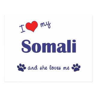 I Liebe mein somalisches (weibliche Katze) Postkarte
