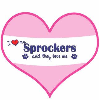 I Liebe mein Sprockers (mehrfache Hunde) Fotostatuen