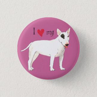 I Liebe mein Stier-Terrier Runder Button 3,2 Cm