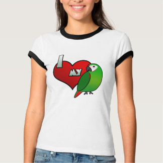 I Liebe mein strenges Macaw-Damen-Wecker-T-Shirt T-Shirt