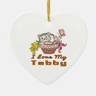 I Liebe mein Tabby Keramik Herz-Ornament