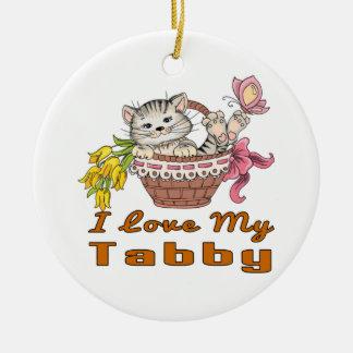 I Liebe mein Tabby Rundes Keramik Ornament