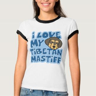 I Liebe mein tibetanischer Mastiff-Damen-Wecker-T T-Shirt