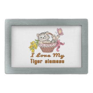 I Liebe mein Tiger siamesisch Rechteckige Gürtelschnallen