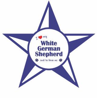 I Liebe mein weißer Schäferhund (männlicher Hund) Photo Statue