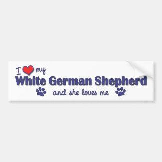 I Liebe mein weißer Schäferhund (weiblicher Hund) Autoaufkleber