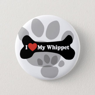 I Liebe mein Whippet - Hundeknochen Runder Button 5,7 Cm