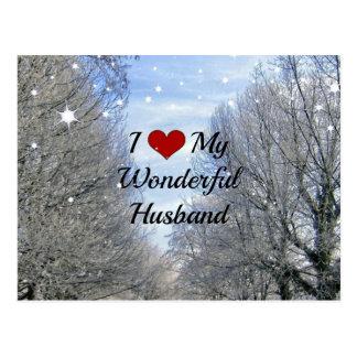 I Liebe mein wunderbarer Ehemann (größerer Text) Postkarte
